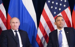 "US President Barack Obama (R) and Russian President Vladimir Putin hold a bilateral meeting in Los Cabos, Mexico on June 18, 2012 on the sidelines of the G20 summit. Obama and President Vladimir Putin met Monday, for the first time since the Russian leader's return to the presidency, for talks overshadowed by a row over Syria. The closely watched meeting opened half-an-hour late on the sidelines of the G20 summit of developed and developing nations, as the US leader sought to preserve his ""reset"" of ties with Moscow despite building disagreements. AFP PHOTO/Jewel Samad"